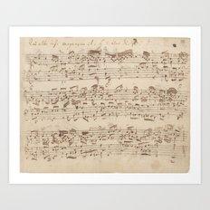 Old Music Notes - Bach Music Sheet Art Print