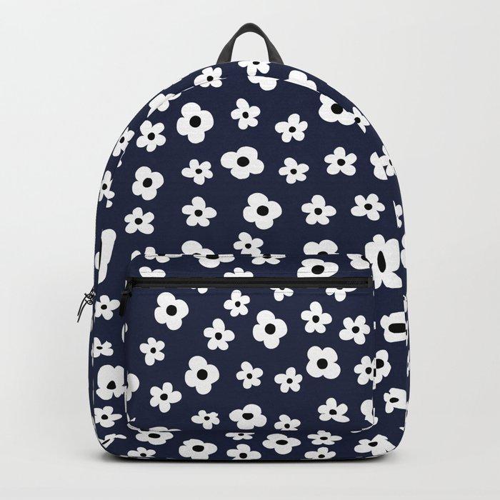 Blue White Spring Flower Pattern Backpack