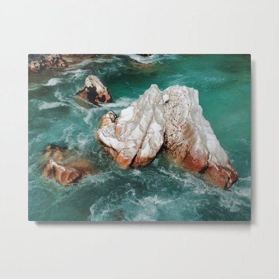 Sharp rock in river Metal Print