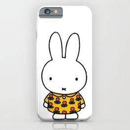 Rabbit In Yellow Pyjamas, Flower Dress iPhone Case