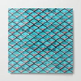 Teal blue and coral pink arapaima mermaid scales Metal Print
