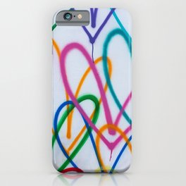 Multicoloured Love Hearts Graffiti Repeat Pattern iPhone Case