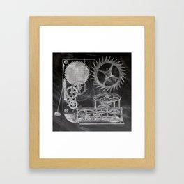 black and white vintage patent print chalkboard steampunk clock gear Framed Art Print