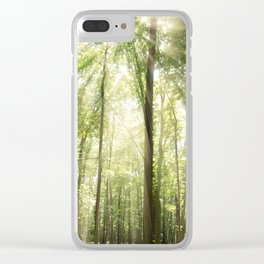 Sun Rays Through Treetops Inspirational Landscape Photo Clear iPhone Case