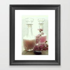 Bath salts and bath foam in still life Framed Art Print
