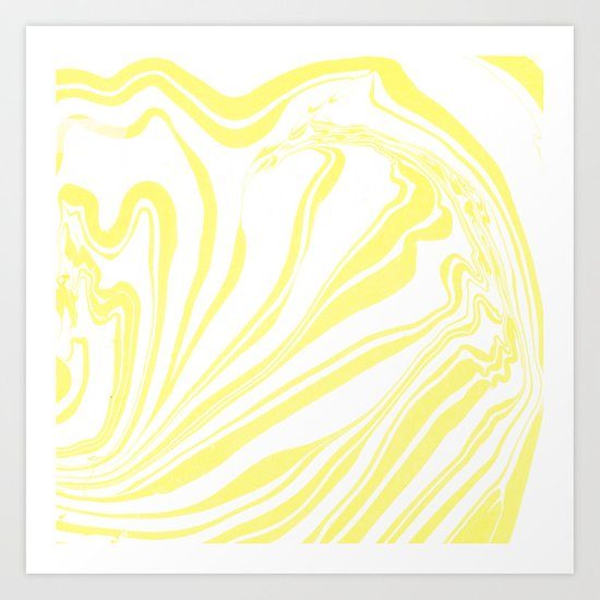 Yellow Marble Ink Watercolor Art Print