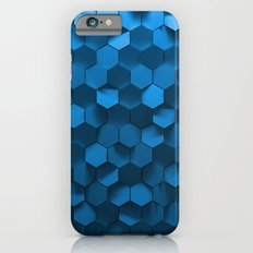 Blue hexagon abstract pattern Slim Case iPhone 6