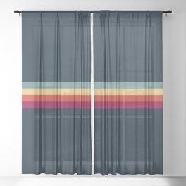 Retro Stripes Thunderbird Sheer Curtain