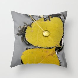 Aspen Leaves in Pond Throw Pillow