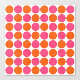orange and hot pink dots Canvas Print