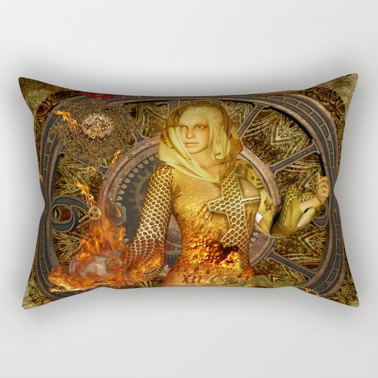 Wonderful steampunk lady Rectangular Pillow