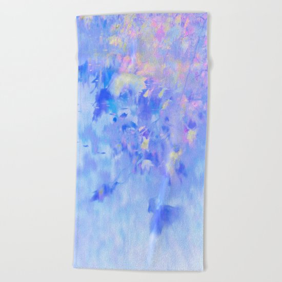 Blue Leaves under a Lavender Sky Beach Towel