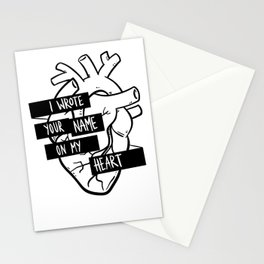 I Wrote Your Name On My Heart Stationery Cards