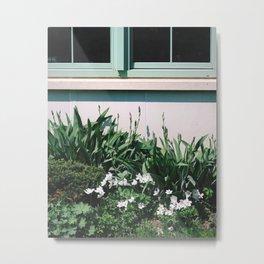 Minty Windows and Fresh Flowers Metal Print