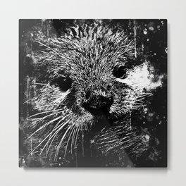 furry fish otter splatter watercolor black white Metal Print