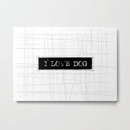 I Love Dog Word Art Metal Print