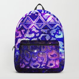 TRIBAL LEOPARD GALAXY Animal Print Aztec Native Pattern Geometric Purple Blue Ombre Space Galactic Backpack