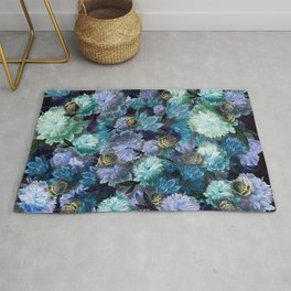 """""""Baroque floral with bugs"""" Rug"""