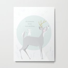 Deer Singing Metal Print