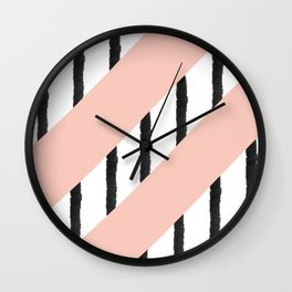 Modern pink coral black watercolor stripes pattern Wall Clock