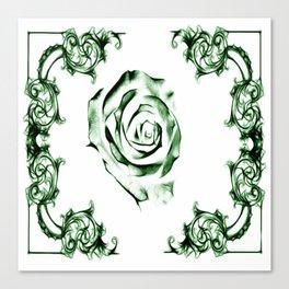 green damask rose Canvas Print