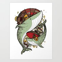 whales Art Prints featuring Whales by green penguin