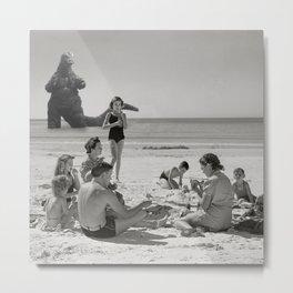 Godzilla Visits Florida White Sands Beach 1940 Metal Print