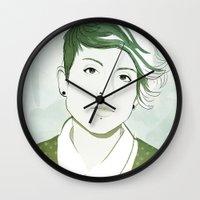 tegan and sara Wall Clocks featuring Tegan by GirlApe