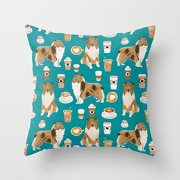 Rough Collie coffee pet portrait dog art by pet friendly latte coffee dog lover gifts Throw Pillow