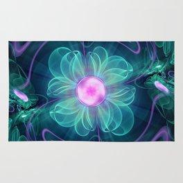 The Enigma Bloom, an Aqua-Violet Fractal Flower Rug