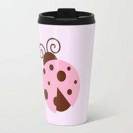 Ladybug (Ladybird, Lady Beetle) - Pink Brown Travel Mug