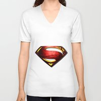 man of steel V-neck T-shirts featuring Man of Steel by bimorecreative