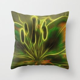 Green Lily Reflections Throw Pillow