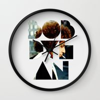 dylan Wall Clocks featuring Bob Dylan Font Colour by Fligo