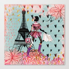Fashion girl in Paris - Shopping at the EiffelTower Canvas Print