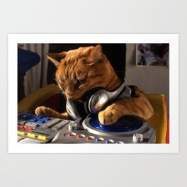 DJ Cat Art Print