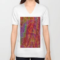 bands V-neck T-shirts featuring Bands II by RingWaveArt