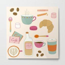 Drawing Coffee in a Café Metal Print