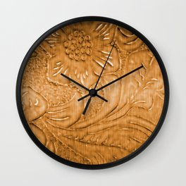 Golden Tan Tooled Leather Wall Clock
