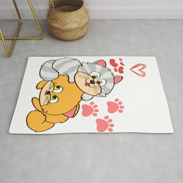 """A Cute Kitty Shirt For Cat Lovers Saying """"I Love Cats"""" Animal Animals T-shirt Design Meow Kitten Paw Rug"""