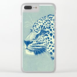 Leopard Turquoise feline glance Clear iPhone Case