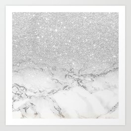 Modern faux grey silver glitter ombre white marble Art Print