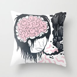 ive got worms in my head Throw Pillow