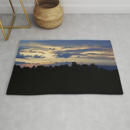 Cloudy Sunrise Forest Silhouette Landscape Rug