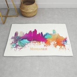 Minneapolis skyline watercolor Rug