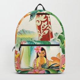 Vintage Hawaiian Travel Poster Backpack