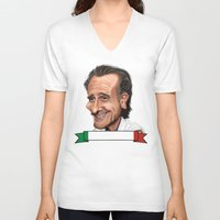 world cup V-neck T-shirts featuring  Cesare Prandelli World Cup by Michael Paci
