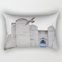 Peregrine falcon in flight over the Cathedral of Learning in Pittsburgh 9 Rectangular Pillow