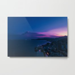 Tropical Seaside Sunset City Metal Print