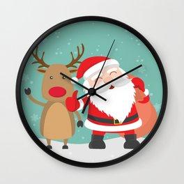 Noel and Deer Enjoying the Christmas Wall Clock